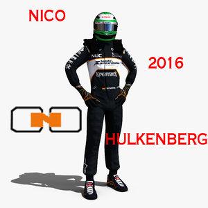 nico hulkenberg 2016 3d model