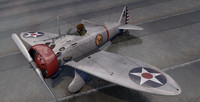 3d model of p-26a peashooter fighter aircraft