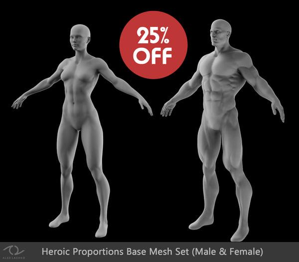 set male female superhero 3d 3ds