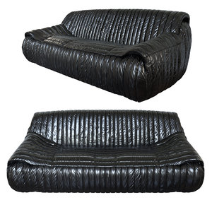 exclusive organic 1970s leather sofa 3d max