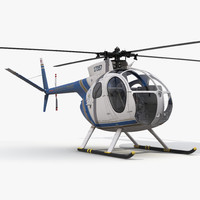 Light Helicopter Hughes OH-6 Cayuse Police 3D Model