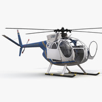Light Helicopter Hughes OH-6 Cayuse Rigged Police