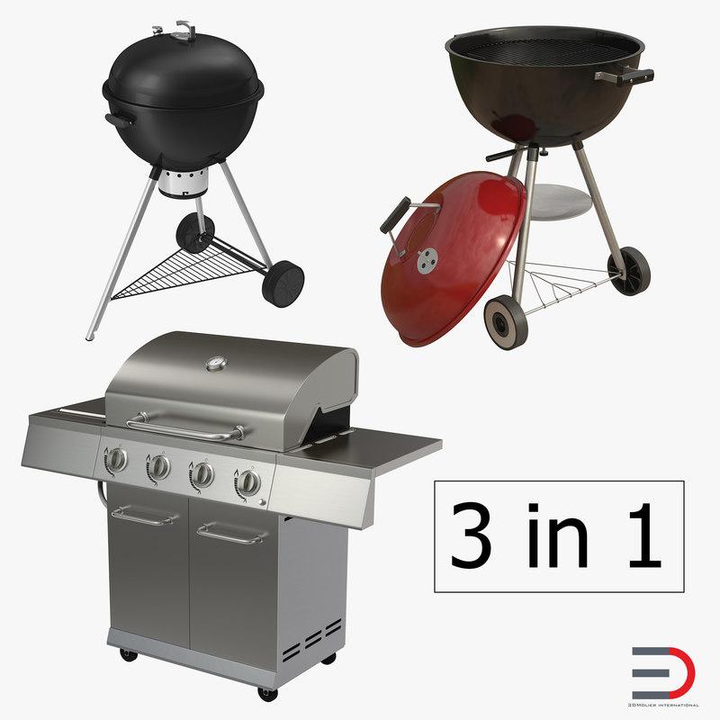 3d grills set gas model