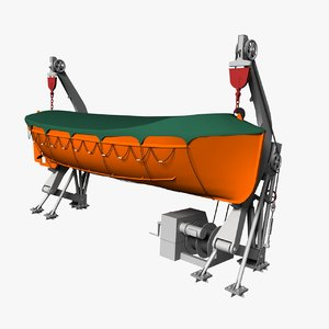 3d model lifeboat davit rigged