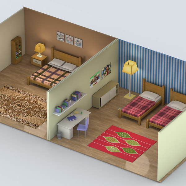 3d model bedroom bed room