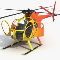 Light Helicopter Hughes OH-6 Cayuse Rigged 3D Model