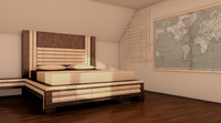 3d bamboo bedroom room model