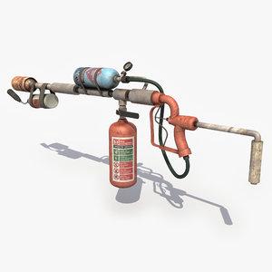 3d flamethrower modeled games model