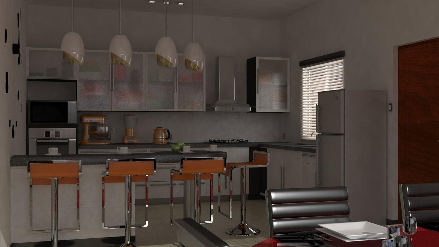 apartment livingroom kitchen 3d model