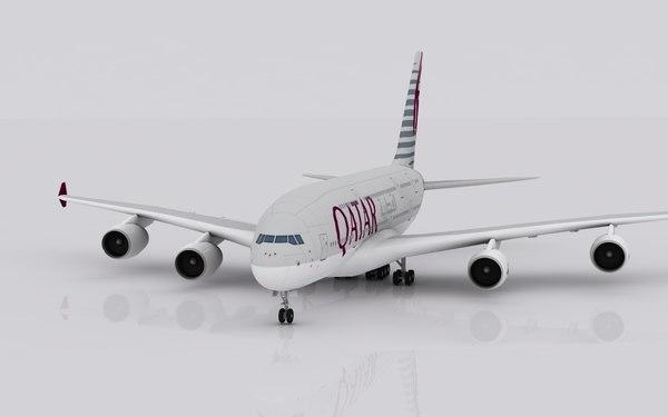 3d airplane airbus a380 qatar