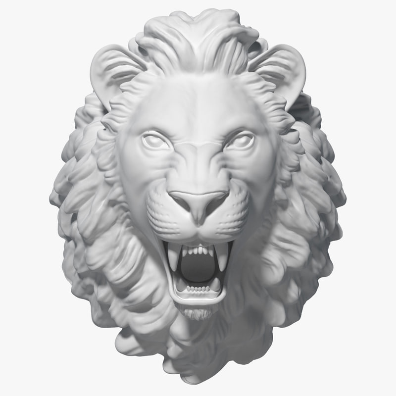 3d model lion head sculpture
