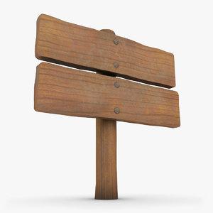 realistic wooden signboard 01 3d max