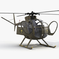 Light Helicopter Hughes OH-6 Cayuse Rigged Military 3D Model