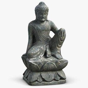sculpture buddha monk 3 obj