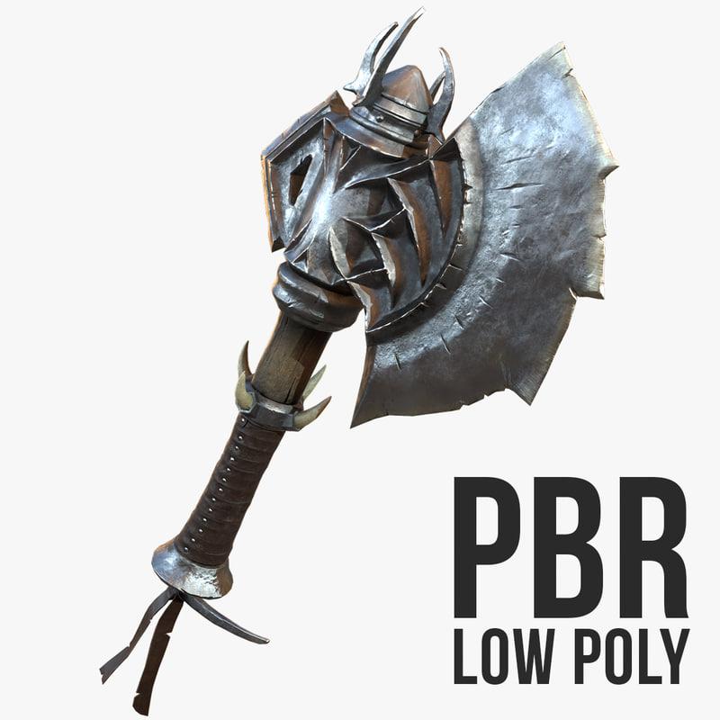 battle axe polys 3d model