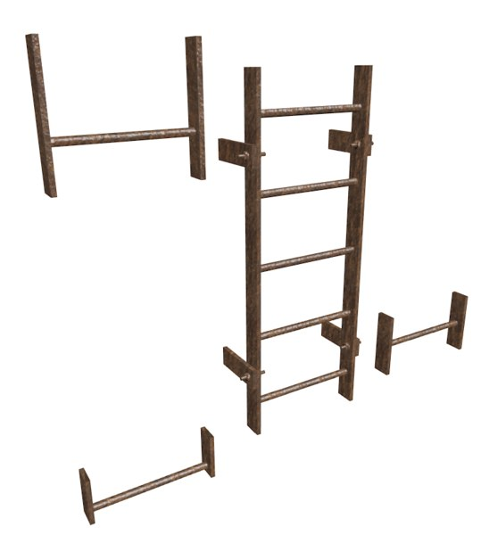 3d old rusty ladder