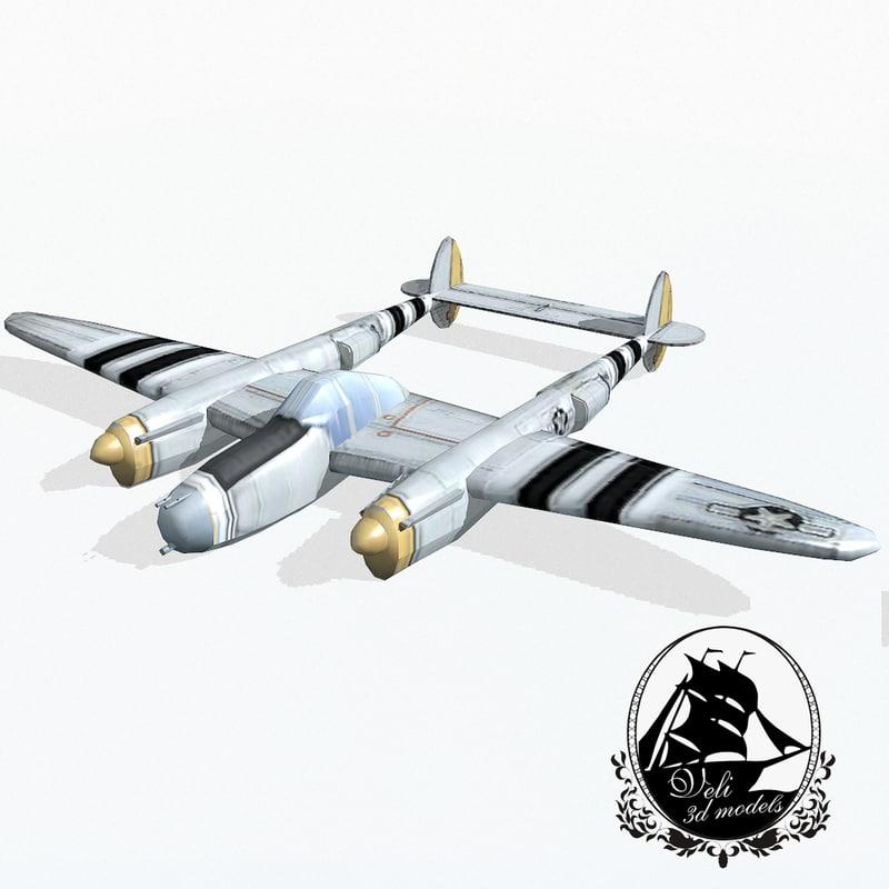 lockheed p-38 lightning fighter aircraft 3d model
