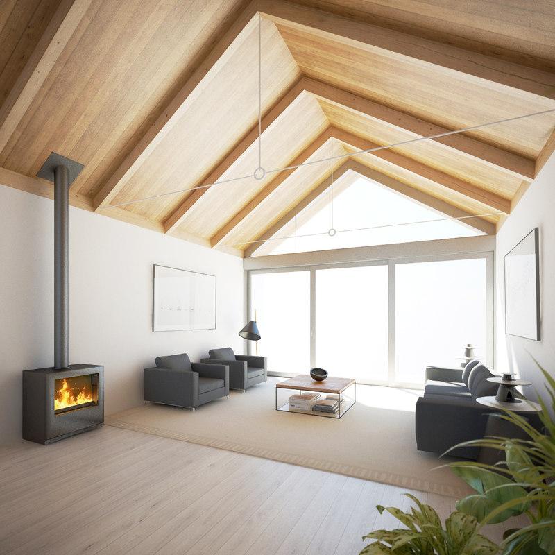 3d living room interior scene model