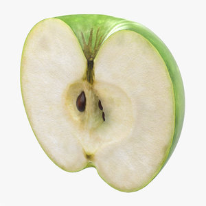 3ds green apple cut half