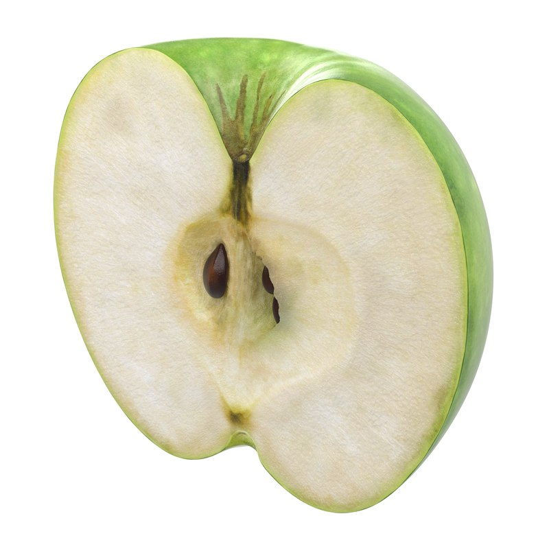 3ds green apple cut half