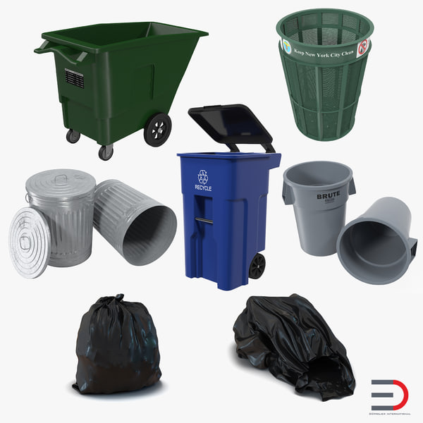 3d garbage cans 3 modeled