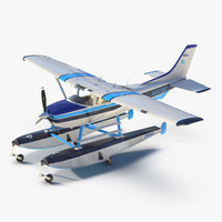 Cessna 182 Skylane on Floats 3D Model