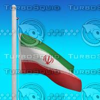 3d model flag iran - loop
