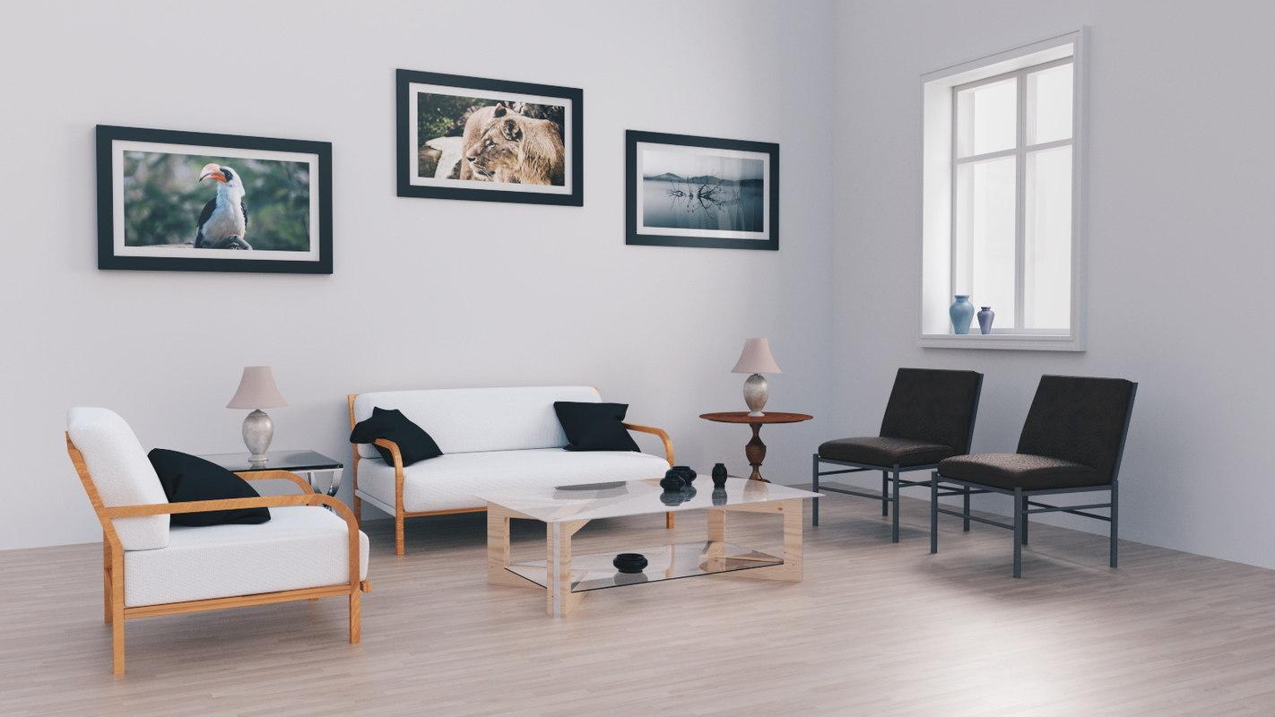 modern living room 3d blend