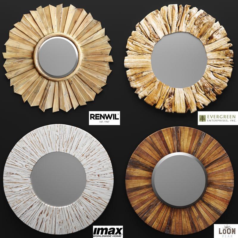 obj mirror wood wall