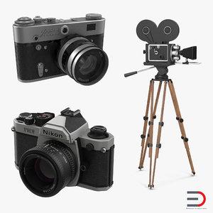 vintage cameras 2 3d model