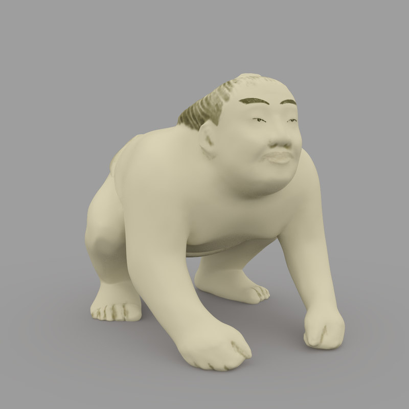 3d netsuke sumo wrestler