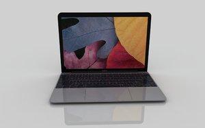 new macbook 2015 gray 3d model