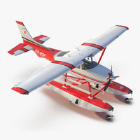 Cessna 182 Skylane on Floats Red 3D Model