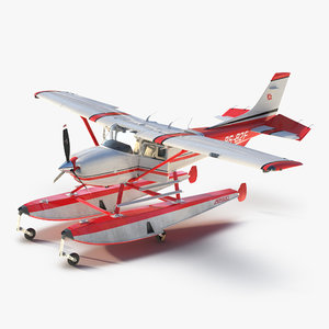3d cessna 182 skylane floats model