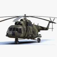 low-poly military helicopter mi-8 3d model
