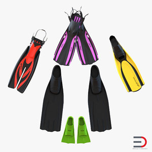 3d swim fins 2 oceanic model