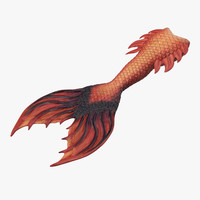 3d model of mermaid tail 02 straight