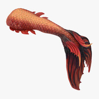 3d mermaid tail 02 swimming model