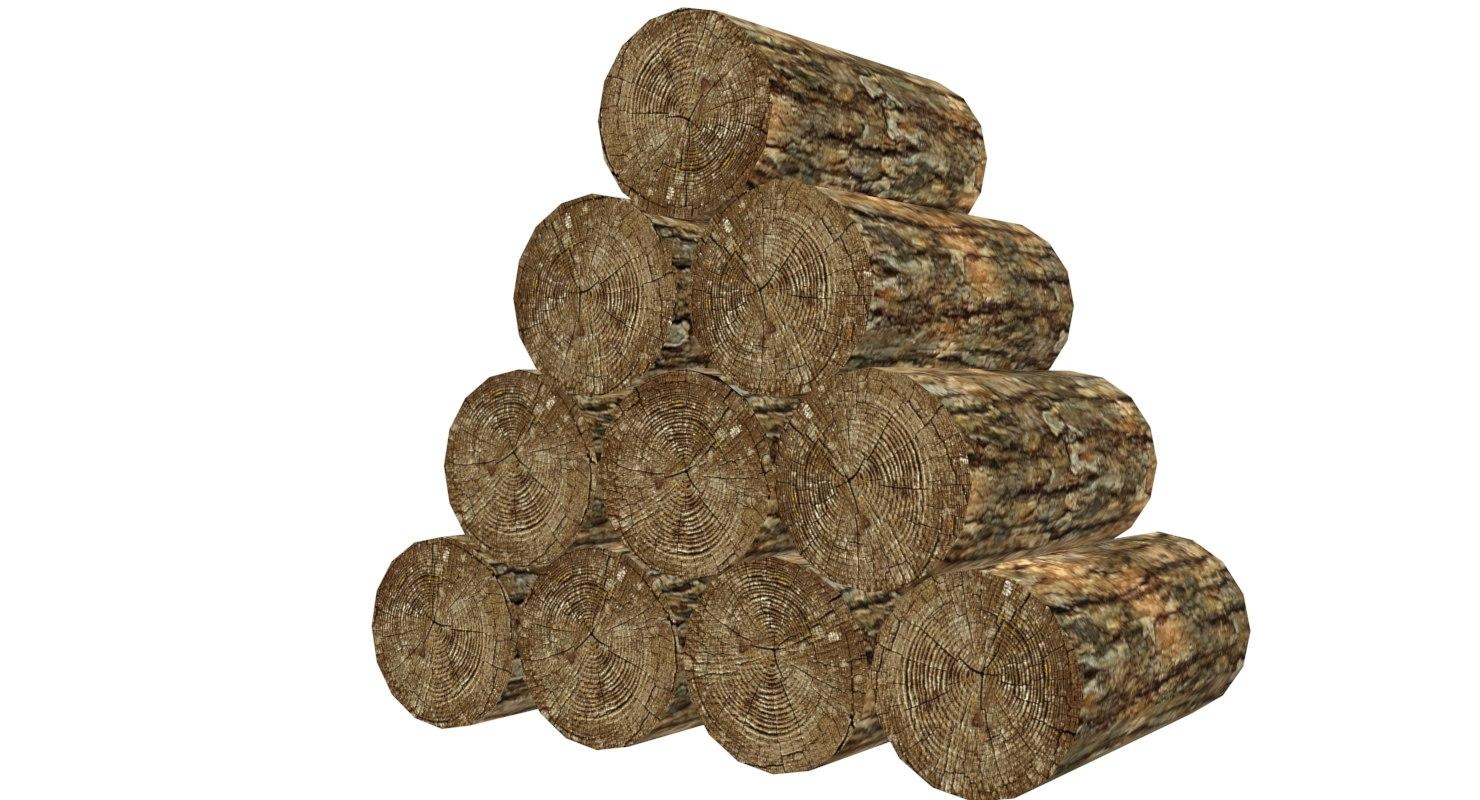 stack logs 3d obj