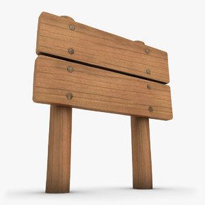 3d realistic wooden signboard 02 model