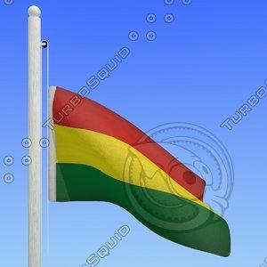 flag bolivia - loop 3d model