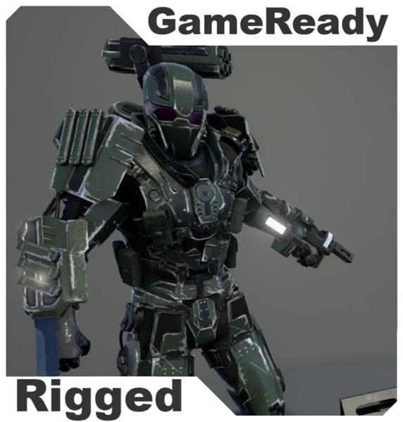 soldier exoskeleton pbr 3d fbx