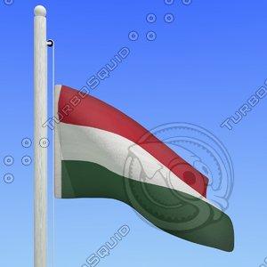 flag hungary - loop 3d max