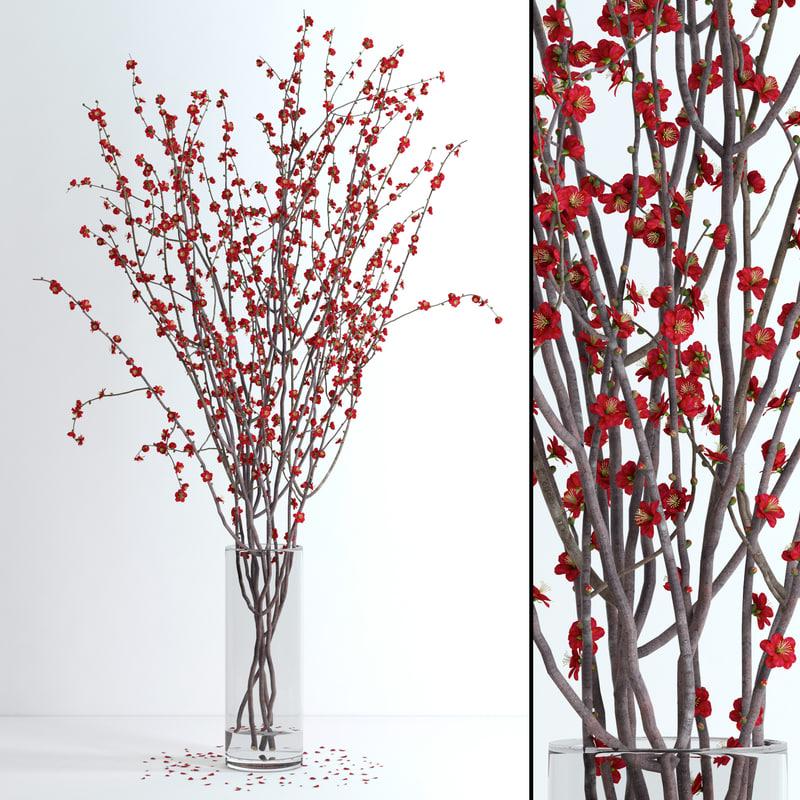 vase red blossom flowers 3d model