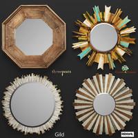 wooden mirror set 3D