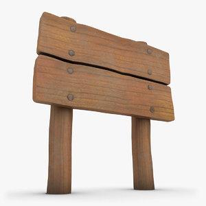 realistic wooden signboard 02 3d model