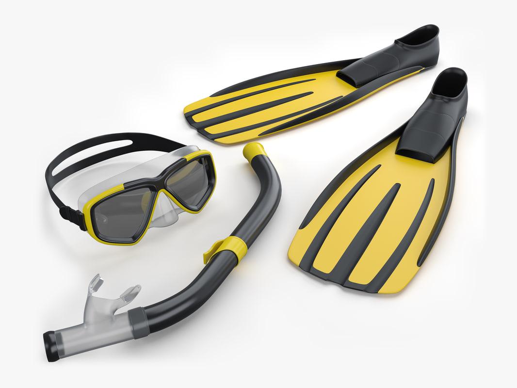 3d flippers scuba model