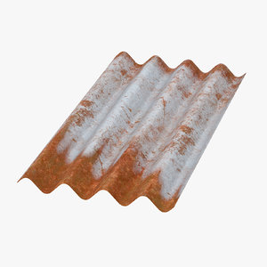 3d corrugated metal sheets rusted
