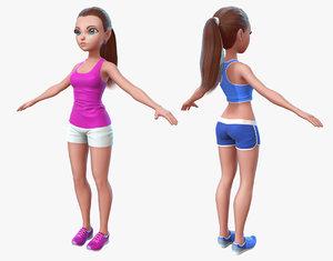 3d cartoon sport girl model