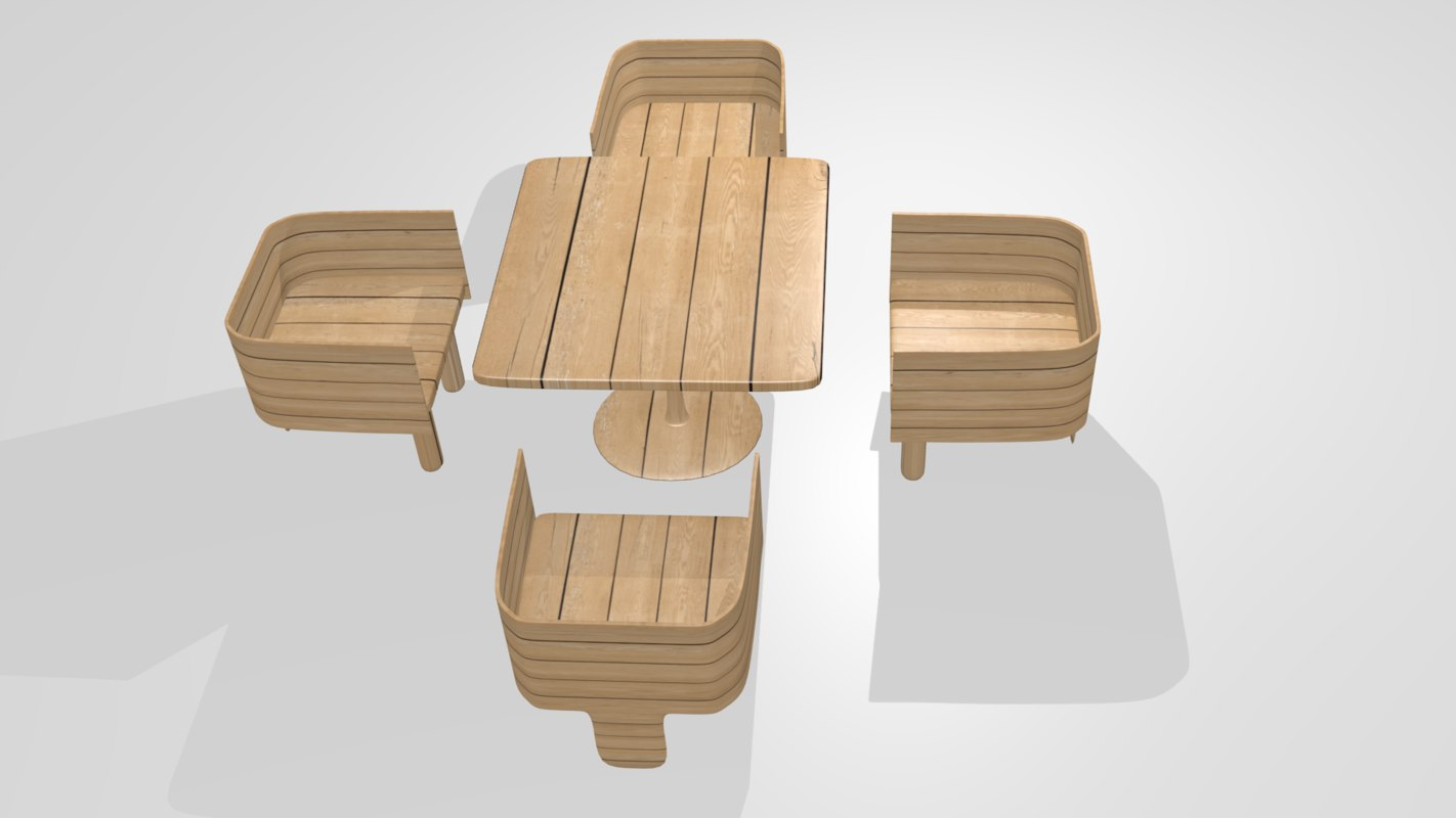 3d blend wooden tea table chairs